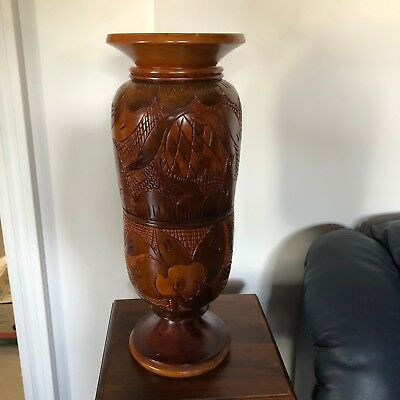 Hand Made Carved Decorative Vase In Solid Wood  Haiti 1980'S One Of A Kind