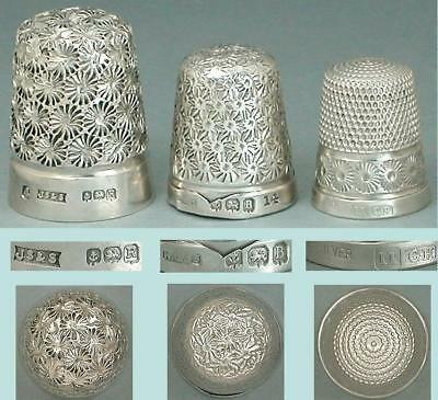 3 Vintage English Sterling Silver Thimbles * Hallmarked 1926-41