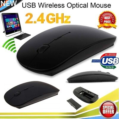 Slim 2.4GHz Wireless Cordless Mouse Mice Optical Scroll For PC Laptop Computer