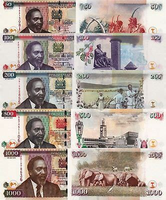 Kenya 5 Note Set: 50 to 1000 Shillings (16.7.2010) - p47e/p48e/p49e/p50e/p51e