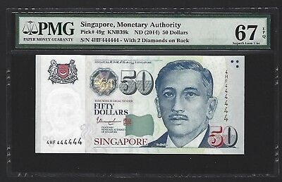 2014 Singapore $50 Dollars PMG 67 EPQ GEM UNC, S/N SOLID 444444, Very Rare P-49g
