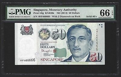 2014 Singapore $50 Dollars PMG 66 EPQ GEM UNC, S/N SOLID 666666, Very Rare P-49g