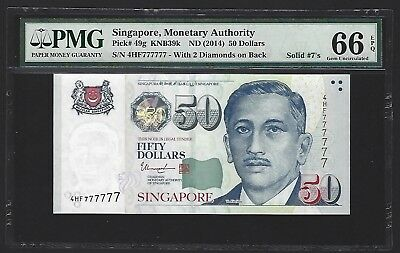 2014 Singapore $50 Dollars PMG 66 EPQ GEM UNC, S/N SOLID 777777, Very Rare P-49g
