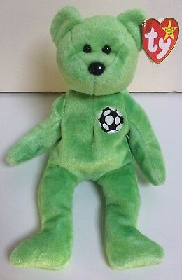 TY Beanie Babies 'KICKS' Bear Collectible W/ Tag & Tush Errors - From Collection