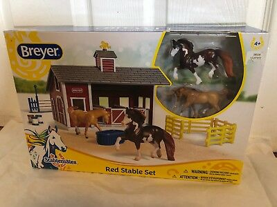BREYER Stablemates Red Stable Set Horse Set Kids Farm Toy Red Barn Pretend Play