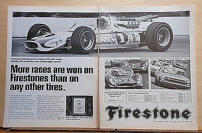 1967 two page magazine ad for Firestone Tires - Winning record in racing