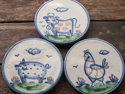 Vtg Set Of 3 M.a. Hadley Art Pottery Trivets-Trivet-Farm Animals-Pig-Cow-Chicken