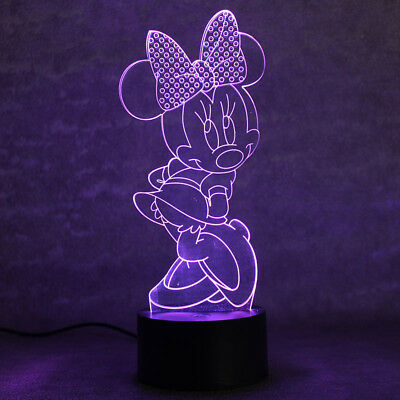 3D Minnie Mouse Night Light 7 Color Change LED Desk Lamp Touch Room Decor Gift