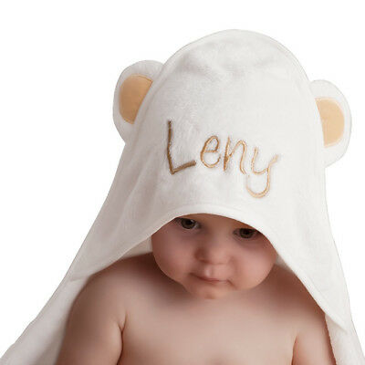 Personalised HONEY BEAR Eco-Friendly Bamboo Hooded Towel | Baby Shower Gift