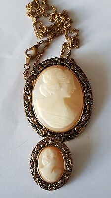 Vintage Carved Pair of Cameos Necklace and Brooch Pendant