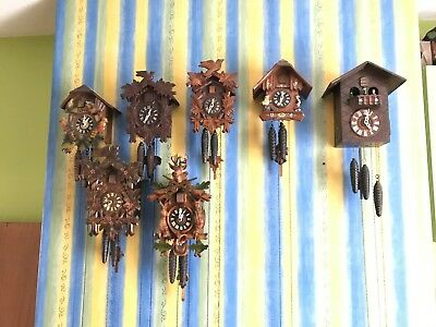 Job Lot - 7 Cuckoo Clocks, one Musical all Working and in good condition