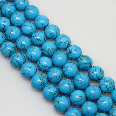 "Natural Blue Turquoise Round loose Gemstone Spacer Bead Charm 8/10/12mm  15""AAA"