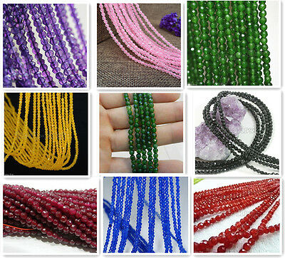"Genuine 4mm Natural Faceted Jade /Emerald /Ruby Rondelle Loose Beads 15"" AAA"