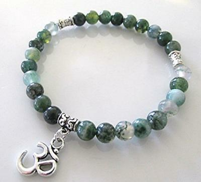 6mm Men Natural Green moss agate Stone Gemstone Therapy Beads Bracelets