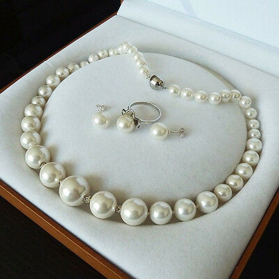 """Rare Real 8-16Mm South White Sea Shell Pearl Necklace Ring Earrings 18"""" A+++"""