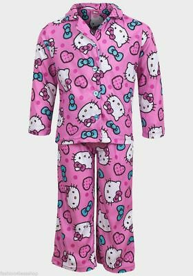 M&S HELLO KITTY GIRLS PINK SUMMER PYJAMA SET GIRLS NIGHT WEAR - Size 6