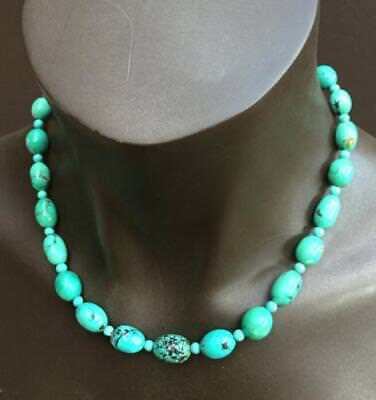 Genuine Cloud Mountain Turquoise Necklace with Sterling Silver Clasp 19 inches