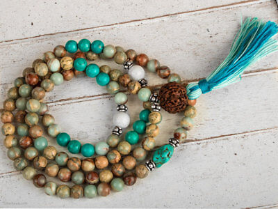 Natural turquoise chakra energy mala bracelet pendant necklace tassel yoga 8MM