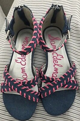 83916fd12 Sam Edelman Danica Silvia sz 3 Girls sandals Blue denim and Pink trim sm  wedge