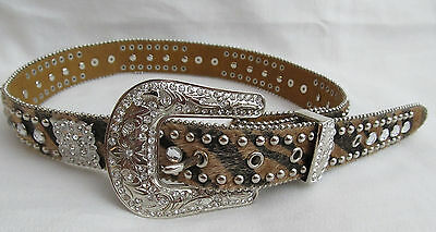 Nocona Girls Rhinestone Brown Leather Leopard Silver Western Belt Youth Size 26
