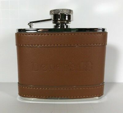 Rare DEWARS 12 - Pocket Flask - Leather and Stainless Steel - 4 oz / 4 ounces