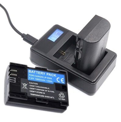 Dual Charger and Battery LC-E6 LP-E6N for Canon EOS 5D 6D 7D Mark II 70D 80D