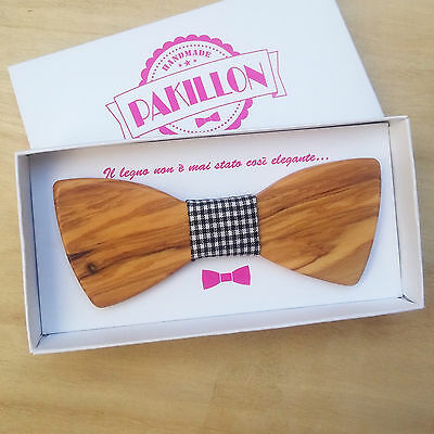 PAKILLON Lady mod. Lotus - Papillon in legno con nodo in stoffa - donna