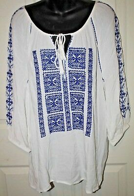 A Pea In The Pod NEW Boho Blue White  Embroidered Gauze Shirt M