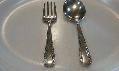 Art Deco Scroll Baby Flatware Set Fork Spoon Webster Sterling Silver 1940