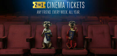 2-for-1 Cinema Ticket Codes- Odeon Vue Cineworld:Tuesday/Wednesday 15/16 January