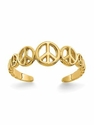 14k Yellow Gold Peace Signs Adjustable Toe Ring - 0.83 Grams