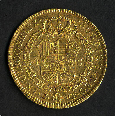 Rare pirate GOLD & spanish colonial coin * 4 Escudos or Double Doubloon * 1772