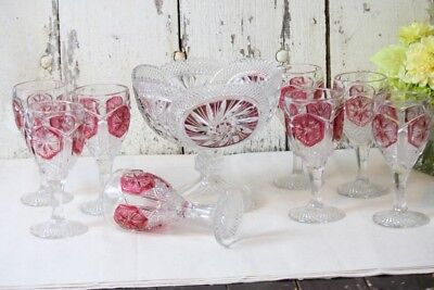 Cranberry Glass Compote & 8 Wine Glasses Flashed Cranberry Ruby Red Diamond Star