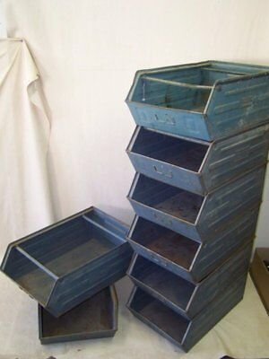 Antique Storage Box Large Metal Industrial Design Shelf Loft Stacking Boxes