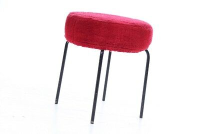 Old DDR Stuffed Stool Cult Retro Old Vintage 60er 70er Red Chair Seat