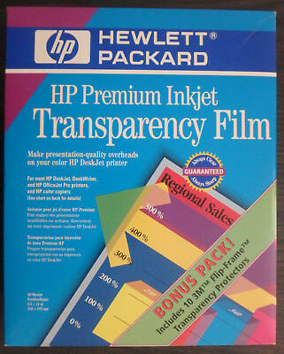 HP Premium Inkjet Transparency Film Bonus Pack Opened/Used Over Half in Box