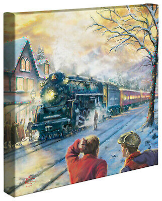 Thomas Kinkade All Aboard For Christmas 14 x 14 Wrapped Canvas - Spring Sale