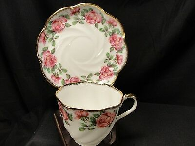 Vintage Salisbury Bone China England Teacup and Saucer Roses With Gold