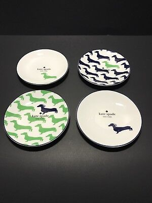 Kate Spade Wickford Dachshund Set 4 Tidbit Plates Lenox China New & WIENER DOG KATE SPADE NEW YORK/LENOX WICKFORD DACHSHUND SET Of 4 ...