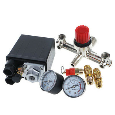 Sale Air Compressor Pressure Control Switch Valve Manifold Regulator w/Gauges U1