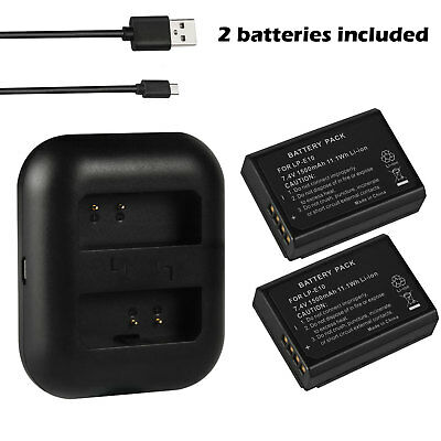 LP-E10 Battery + Dual USB Charger For Canon Rebel T3 T6 T5 EOS 1100D 1300D Lot O
