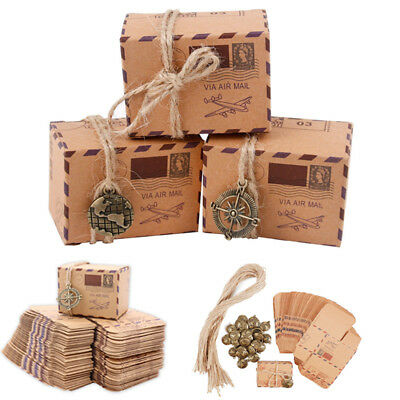 50PCS Kraft Paper Baby Shower Favor Gift Box Candy Boxes Wedding Party Decor