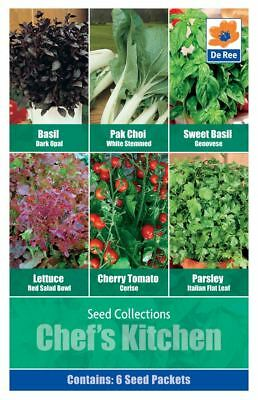 Chefs Kitchen Seed Basil Pak Choi Lettuce Cherry Tomato Parsley 6 in 1 Packet