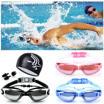 3/1 Anti Fog Adult Swimming Goggles Swim Cap Ear Plugs Nose Clip Set Men&Women