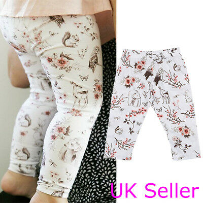 UK Newborn Infant Baby Girls Cartoon Long Pants Trousers Leggings Outfit Clothes
