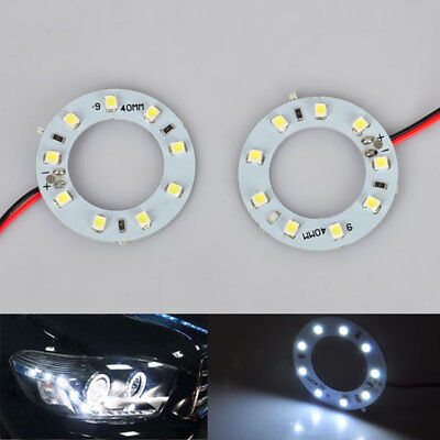 2pc 40mm weiss 1210 / 3528 9 SMD LED Auto Angel Eyes Halo Ring Kopf Lampe Licht