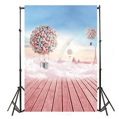 5X7Ft Birthday Party Pink Backdrop Hot Air Balloon Photography Backdrops NEW