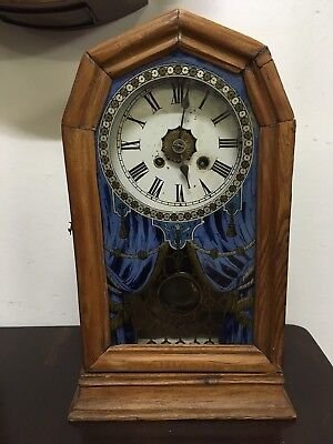 ANTIQUE SMALL GERMAN MANTEL CLOCK by UNION CLOCK CO, Lovely Painted Glass Door