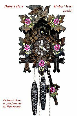 Hubert Herr,  Black Forest lovely new cuckoo clock with hand painted red roses.