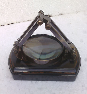 Brass Fold Magnifying Glass Brass With Wood Base Antique Vintage Style  DeskTop